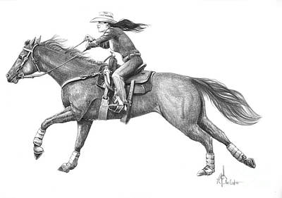 Cowgirl Full Out Print by Murphy Elliott