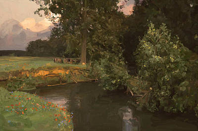 Cows Along The River Print by Nop Briex