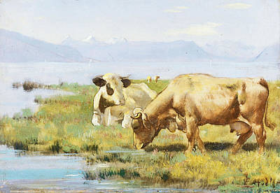 Ferdinand Hodler Painting - Cows At Lakeshore by Ferdinand Hodler