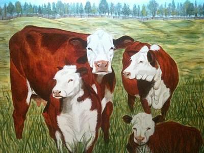 Cows Four Print by Lee Halbrook