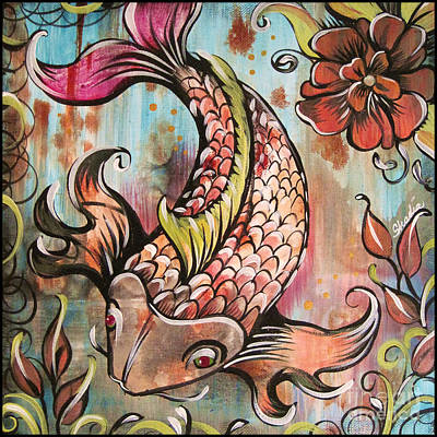 Koi Fish Painting - Coy Koi by Shadia Zayed