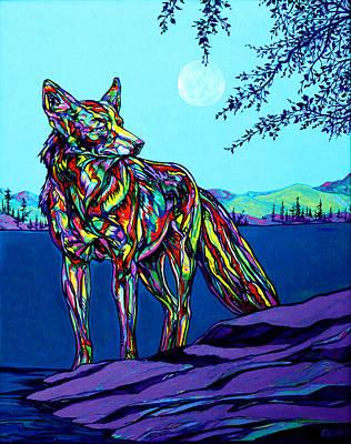 North American Wildlife Painting - Coyote by Derrick Higgins