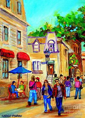 Cozy Dinner Under Blue Umbrella Summer Stroll Prince Arthur Montreal Paintings Carole Spandau Print by Carole Spandau