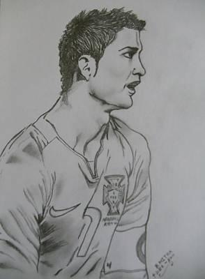 Cristiano Ronaldo Drawing - CR7 by Bodhisatwa Mitra