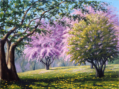 Morning Light Painting - Crab Apple Trees by Rick Hansen