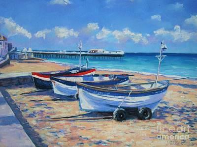 Acrylics Painting - Crab Boats On Cromer Beach by John Clark