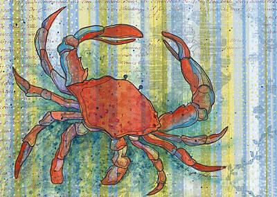 Crab Mixed Media - Crabby Crab by Priscilla  Jo