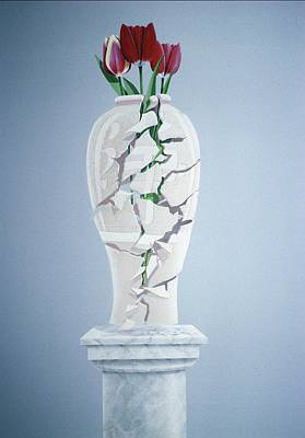 Cracks Painting - Cracked Urn by Lincoln Seligman