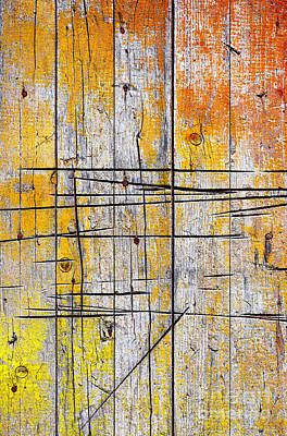 Construction Photograph - Cracked Wood Background by Carlos Caetano