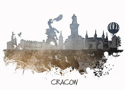 Cracow Digital Art - Cracow City Skyline by Justyna JBJart