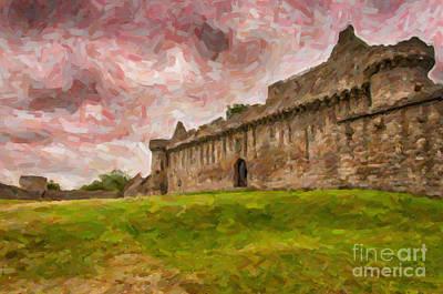 Scots Painting - Craigmillar Castle Digital Painting by Antony McAulay