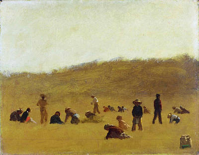Cranberry Pickers Print by Eastman Johnson