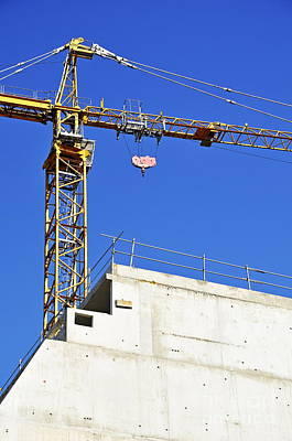 Crane On Construction Site Print by Sami Sarkis