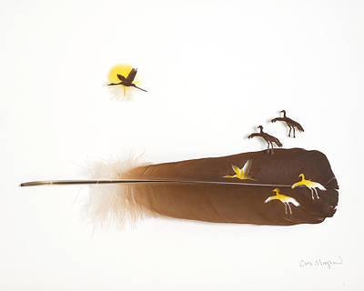 Shadowbox Mixed Media - Cranes Flying by Chris Maynard