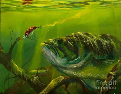 Bass Fishing Painting - Cranking  by Yusniel Santos
