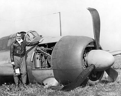 Airplane Photograph - Crash Landed Airplane by Underwood Archives