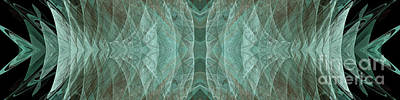 Crashing Waves Of Green 1 - Panorama - Abstract - Fractal Art Print by Andee Design