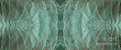 Crashing Waves Of Green 2 - Panorama - Abstract - Fractal Art Print by Andee Design