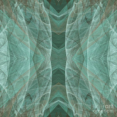 Crashing Waves Of Green 4 - Square - Abstract - Fractal Art Print by Andee Design