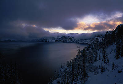 Crater Lake At Sunrise, South Rim Print by Panoramic Images
