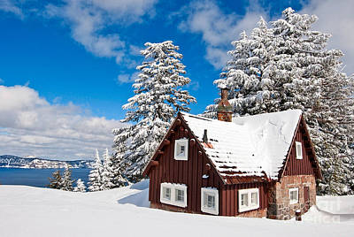 Cabin Photograph - Crater Lake Home - Crater Lake Covered In Snow In The Winter. by Jamie Pham