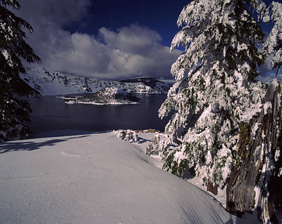 Crater Lake In Winter, Wizard Island Print by Panoramic Images
