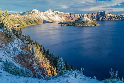 Morning Photograph - Crater Lake Snowfall - Crater Lake National Park Photograph by Duane Miller
