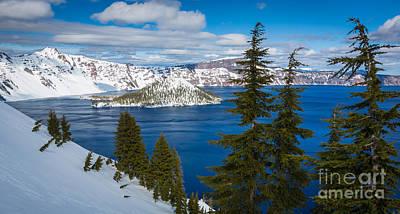 Crater Lake Winter Panorama Print by Inge Johnsson