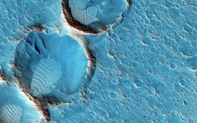 Craters On Mars Print by Nasa/jpl-caltech/univ. Of Arizona