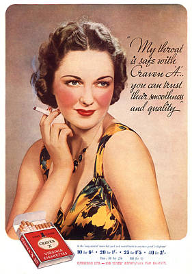 Cigarette Ads Drawing - Craven A 1937 1930s Usa Womens Fashion by The Advertising Archives