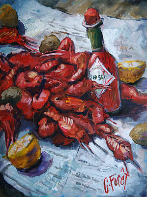 Louisiana Crawfish Painting - Crawfish Tabasco by Carole Foret