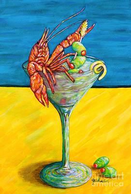 Louisiana Crawfish Painting - Crawtini by JoAnn Wheeler