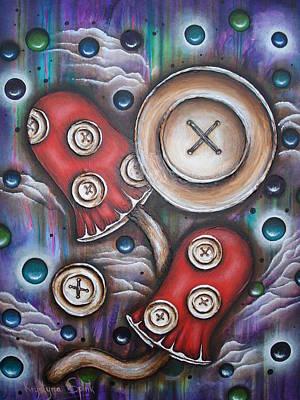 Crazy Button Mushrooms Original by Krystyna Spink
