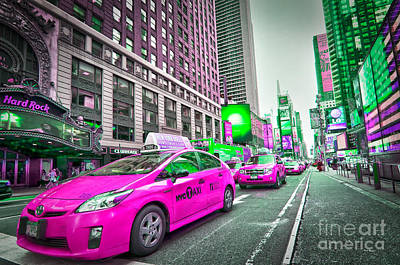 Crazy Cabs In Manhattan Print by Delphimages Photo Creations