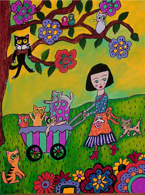 Baby Carriage Painting - Crazy Cat Lady Evening Stroll by Tori Radford