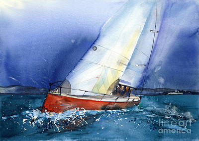 Abstract Coyote Painting - Crazy Coyote - Sailboat by Ira Ivanova