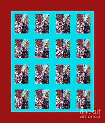 Crazy Quilt With Turquoise And Red Print by Barbara Griffin