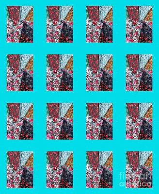 Crazy Quilt With Turquoise  Print by Barbara Griffin