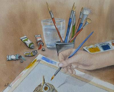 Hand Painted Glasses Painting - Creating A Watercolor by Kelly Mills