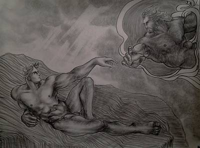 Hunk Drawing - Creation Of Adam by Manat Large