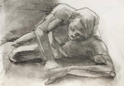 Creation Of Adam Sketch Print by Jani Freimann