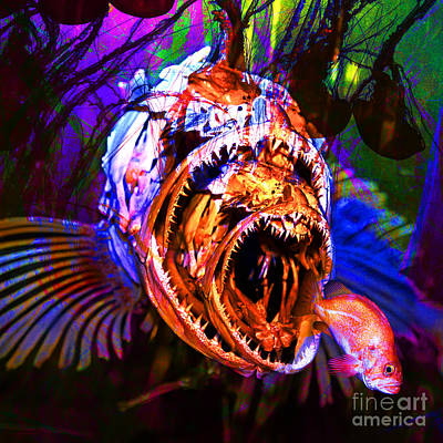 Psychedelic Photograph - Creatures Of The Deep - Fear No Fish 5d24799 Square by Wingsdomain Art and Photography
