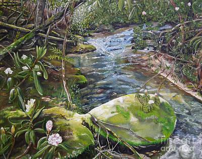 Babbling Brook Painting - Creek -  Beyond The Rock - Mountaintown Creek  by Jan Dappen