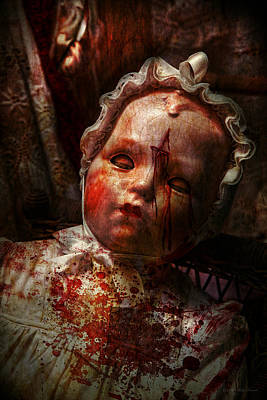 Crucified Photograph - Creepy - Doll - It's Best To Let Them Sleep  by Mike Savad