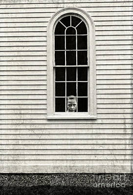 Creepy Photograph - Creepy Victorian Girl Looking Out Window by Edward Fielding