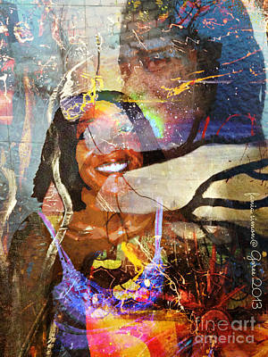 Faniart Africa America Painting - Creolization - Descendants Surviving Tribalism by Fania Simon