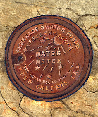 Bronze Painting - Crescent City Water Meter by Elaine Hodges