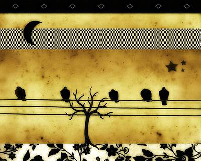 Crescent Moon And Birds Print by Gothicolors Donna Snyder
