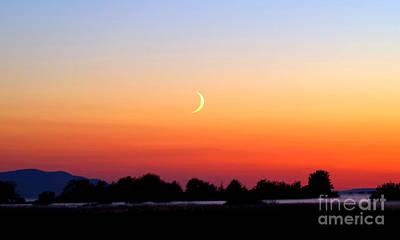 Crescent Moon At Sunset  - Lummi Bay Print by Douglas Taylor