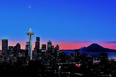 Seattle Skyline Photograph - Crescent Moon Over Seattle by Benjamin Yeager